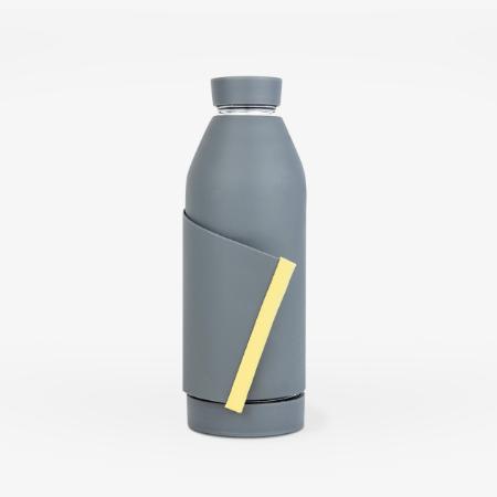 Botella reutilizable Gris y franja amarilla - Closca