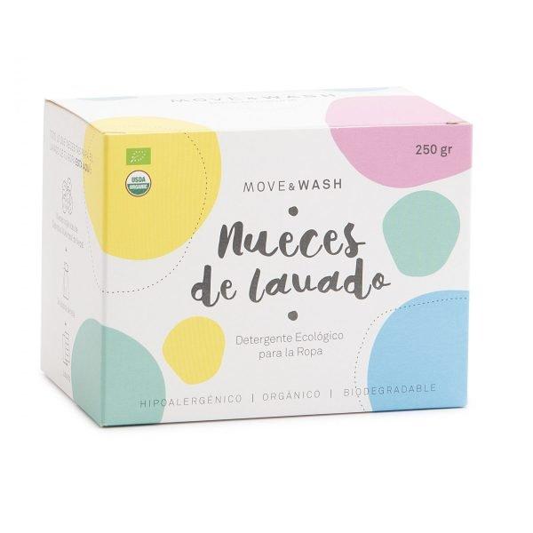 caja de cartón con circulos de colores pastel y nombre del productos