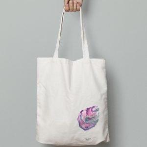 Tote bag caracol rosa, diseño Salix