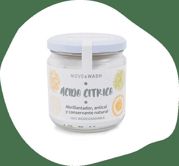 bote de cristal con etiqueta Acido Cítrico - Move & Wash