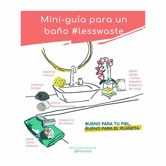 Mini-guía descargable para un baño #lesswaste de Salix Sostenible