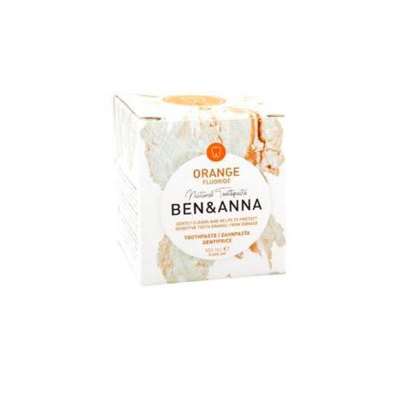 Packaging dentífrico con Flúor, sabor naranja - Ben & Anna