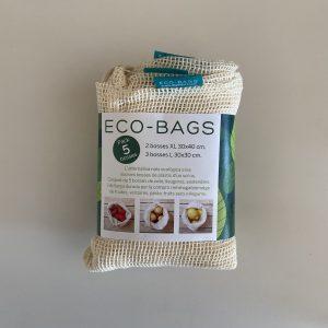 Eco-bags, Pack de 5 bolsas algodón orgánico malla - Dignidart